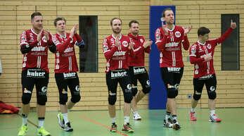 Stefan Konprecht, Matthias Lilienthal, Oliver Späth, Benedikt Huber, Sven Muckle und Mark Borho (v. l.) wollen sich mit dem FBC Offenburg erfolgreich von ihren Fans verabschieden.