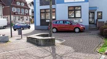 Zwischen Sitzgelegenheit und Grünfläche soll der Geldautomat in Oberschopfheim Platz finden.