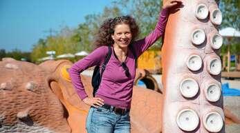 Lokalredakteurin Anja Rolfes bei ihrem Rundgang über die LGS.