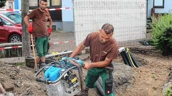 Die Bauarbeiten für den Geldautomat am Dreiangel in Oberschopfheim haben gestern begonnen.