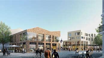 So soll die Ecke Hauptstraße/Gustav-Rée-Anlage ab Oktober 2018 aussehen: In der Einkaufsgalerie sollen nach jüngsten Angaben des Investors OFB rund 20 Geschäfte, fünf Gastronomieeinheiten und 25 Wohnungen untergebracht werden.