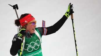Möchte über ihrer dritte Goldmedaille in Pyeongchang jubeln: Biathletin Laura Dahlmeier.