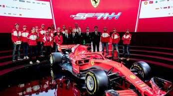 Mit ihm sollen Sebastian Vettel und Kimi Räikkönen der Formel-1-Konkurrenz das Fürchten lernen:Der neue Ferrari SF71H.