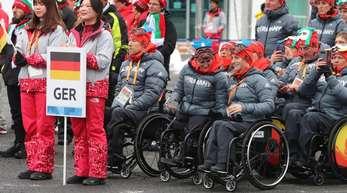 Das deutsche paralympische Team nimmt an der Willkommens-Zeremonie in Pyeongchang teil.