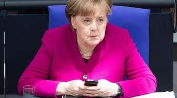 Bundeskanzlerin Angela Merkel am Mittwoch während der Generalaussprache der Abgeordneten im Bundestag.