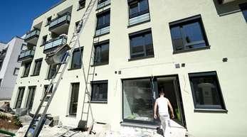 Baustelle eines zukünftigen Wohnhauses in Stuttgart.