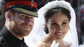 Prinz Harry und seine Frau Meghan nach ihrer Trauung.