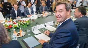 Bayerns Ministerpräsident Markus Söder während des Treffens der Regierungen Österreichs und Bayerns in Linz.