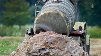 Ein Bauer beim Ausbringen von Gülle auf einem Feld im Oderbruch.