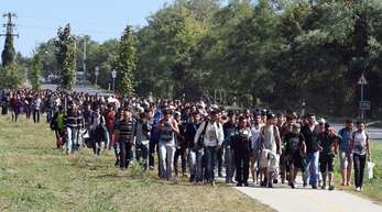 Dieses Foto ging im September 2015 um die Welt: Ungarische Polizisten begleiten einen Flüchtlingszug zur Grenze nach Österreich.