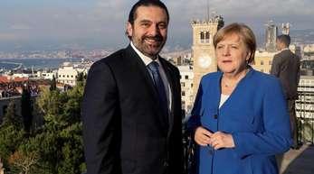 Der libanesische Ministerpräsident Saad Hariri empfängt Kanzlerin Angela Merkel in Beirut.