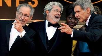Steven Spielberg, George Lucas und Harrison Ford bei der Premeier von 'Indiana Jones 4' 2008 in Cannes.