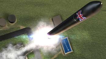 Zukunftvision: Die Animation zeigt eine Rakete, die aus dem Weltraumbahnhof an der Halbinsel A'Mhoine in der schottischen Grafschaft Sutherland startet. Foto. PRNewsfoto/Lockheed Martin