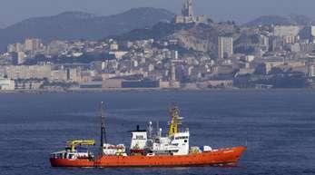 Das Rettungsschiff «Aquarius» im Hafen von Marseille.