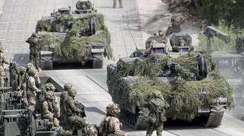 Bundeswehrsoldaten während des Nato-Manövers «Iron Wolf 2017» in Litauen.