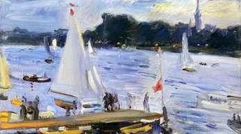 Max Slevogt, Segelboote auf der Alster am Abend, 1905.