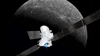 Eine grafische Darstellung zeigt die Sonde BepiColombo im Anflug auf den Merkur.