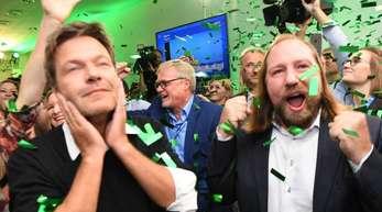 Im Umfragehoch: Grünen-Parteichef Robert Habeck (l) und Fraktionschef Anton Hofreiter.
