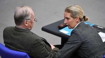 Die AfD-Fraktionschefs Alexander Gauland und Alice Weidel bei einem Gespräch Mitte Oktober im Bundestag.