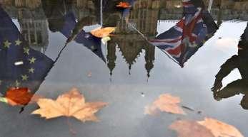 Demonstranten spiegeln sich in einer Pfütze wieder, während sie mit europäischen Fahnen gegen den Brexit vor dem Parlament in London demonstrieren.