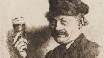 Die Radierung «Der Trinker» von Wilhelm Leibl.