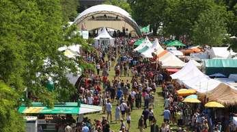 Besucher des Africa-Festivals laufen über das Gelände am Main.