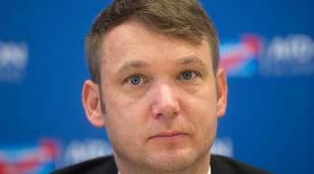 Andre Poggenburg während einer Pressekonferenz im vergangenen März in Magdeburg.