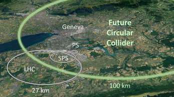 Elipsen, die auf dem Screenshot einer Google-Earth-Karte eingezeichnet wurden, zeigen die Ausmaße des bestehenden Teilchenbeschleunigers mit einen 27 Kilometer langen Tunnel.