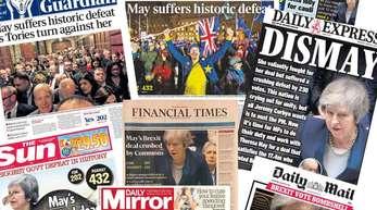 Die Titelseiten von britischen Tageszeitungen am Tag nach der Abstimmung über den Brexit-Deal.