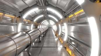Eine künstlerische Darstellung zeigt die Röhre der neuen Anlage, die in einem 100 Kilometer langen ringförmigen Tunnel teils unter demGenfer See verlaufen soll.
