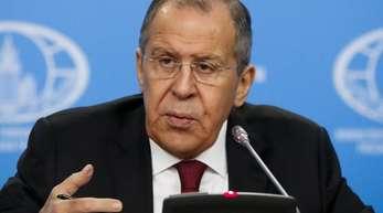 Sergei Lawrow während seiner jährlichen Pressekonferenz in der russischen Hauptstadt.
