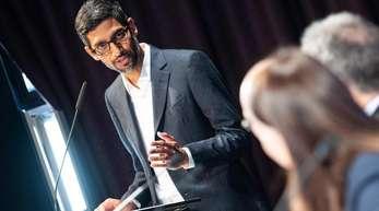 Sundar Pichai, CEO von Google, war in Berlin anlässlich der Eröffnung der neuen Hauptstadtrepräsentanz der Google Germany GmbH.