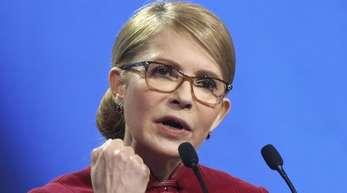 Julia Timoschenko, ehemalige Ministerpräsidentin der Ukraine, spricht während einer Kundgebung.
