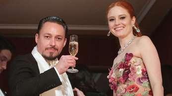 Model Barbara Meier und ihr Verlobter, Unternehmer Klemens Hallmann, auf dem Wiener Opernball.