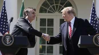Brasiliens Präsident Jair Bolsonaro (l) während seines Treffens mit Donald Trump.