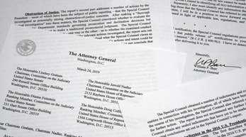 Eine Kopie des Schreibens von US-Justizminister Barr, liegt auf einem Tisch.