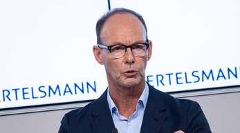 Bertelsmann-Vorstandschef Thomas Rabe auf der Bilanz-Pressekonferenz des Unternehmens.