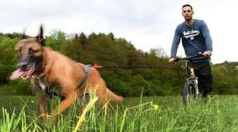 Erst der Hund, dann das Herrchen: Mario Reitz lässt sich von seiner Schäferhündin Kira ziehen.