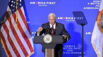 Mike Pence, US-Vizepräsident, spricht über das Freihandelsabkommen zwischen den USA, Mexiko und Kanada.