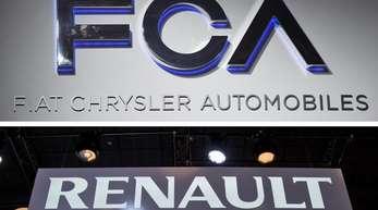 Die Firmenschriftzüge der Autokonzerne Fiat Chrysler (o) und Renault.