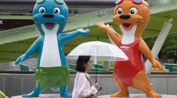 Zwei Otter sind die Maskottchen der Schwimm-WM im südkoreanischen Gwangju.