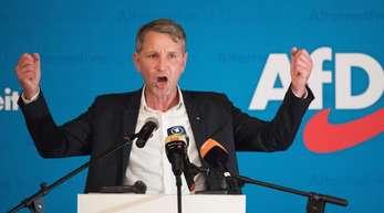 Björn Höcke, Vorsitzender der AfD in Thüringen, spricht zum Wahlkampfauftakt in Sachsen.