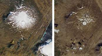 Links: Luftaufnahme des damals noch existierenden Okjökull-Gletschers aus dem Jahr 1986. Rechts: Vom geschrumpften Gletscher ist im August 2019 nur ein kleiner Fleck aus Eis übrig.