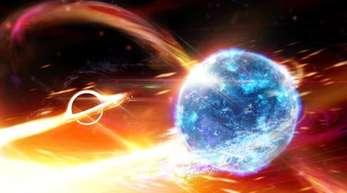 Künstlerische Darstellung eines Schwarzen Lochs, das einen Neutronenstern verschlingt.
