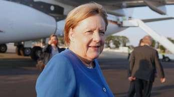 Bundeskanzlerin Angela Merkel (CDU) kommt mit dem Airbus 340 der Luftwaffe, Theodor-Heuss, auf dem John F. Kennedy Flughafen an. Die Bundeskanzlerin nimmt am UN-Klimagipfel teil.