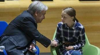 UN-Generalsekretär Antonio Guterres und Greta Thunberg während des UN-Jugendklimagipfels in New York.