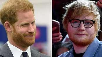 Prinz Harry (l), und Ed Sheeran haben einen Videoclip gedreht.