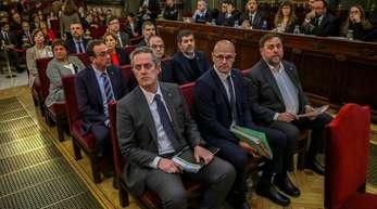 Die katalanischen Separatistenführer auf der Anklagebank im Obersten Gericht in Madrid.