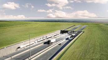 Visualisierung des geplanten Fehmarnbelt-Tunnels zwischen Deutschland und Dänemark auf dänischer Seite in Rodbyhavn.