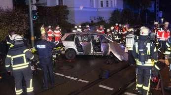 Rettungskräfte am Unfallort in Bielfeld.